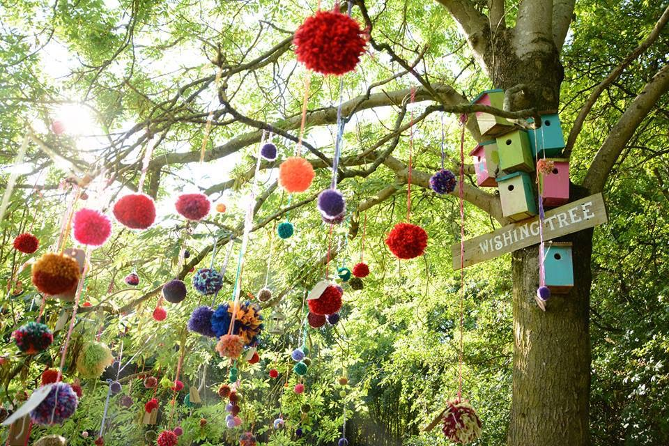 September 2015 MiaFest. A very special pom pom yarn bomb